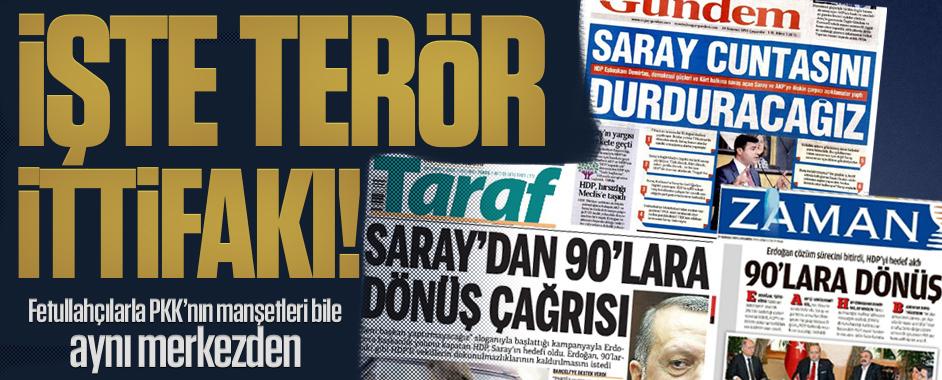 İşte terör ittifakı; Fetullahçılarla PKK'nın manşetleri bile aynı merkezden!